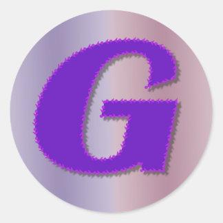 G purple monogram classic round sticker