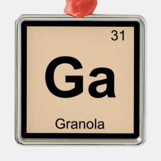 Ga - Granola Chemistry Periodic Table Symbol Silver-Colored Square Ornament