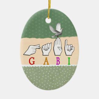 GABI FINGGERSPELLED NAME ASL SIGN CERAMIC ORNAMENT