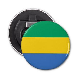 Gabon Flag Button Bottle Opener