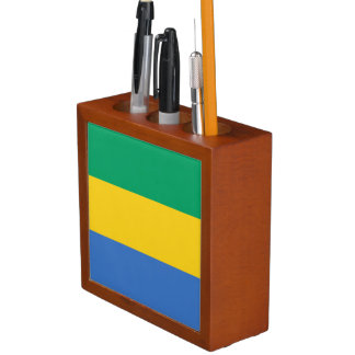 Gabon Flag Desk Organizer