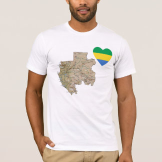 Gabon Flag Heart and Map T-Shirt