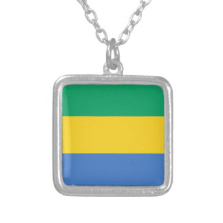 Gabon Flag Silver Plated Necklace