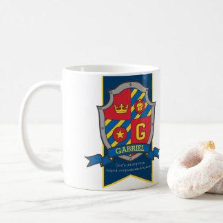 Gabriel heraldry shield red blue name meaning mug