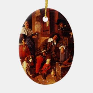 Gabriel Metsu- The Sleeping Sportsman Double-Sided Oval Ceramic Christmas Ornament
