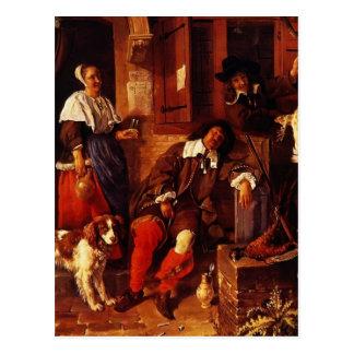 Gabriel Metsu- The Sleeping Sportsman Postcard