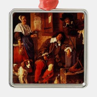 Gabriel Metsu- The Sleeping Sportsman Silver-Colored Square Ornament