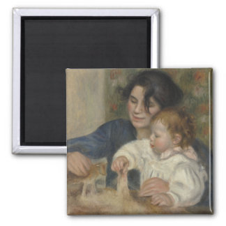 Gabrielle and Jean by Pierre-Auguste Renoir Square Magnet