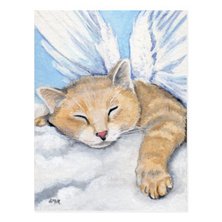 Gabrielle, Angel Cat in Clouds Painting Postcard