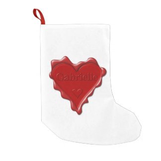 Gabrielle. Red heart wax seal with name Gabrielle. Small Christmas Stocking