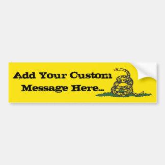 Gadsden Bumper Sticker with Custom Message