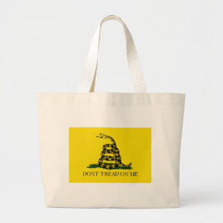 Gadsden Flag - Don't Tread On Me -  Coiled Snake Large Tote Bag