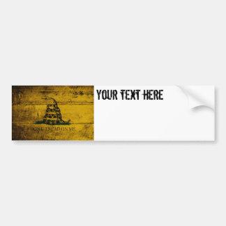Gadsden Flag on Old Wood Grain Bumper Sticker