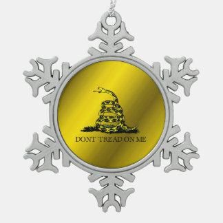 Gadsden Flag Pewter Snowflake Ornament