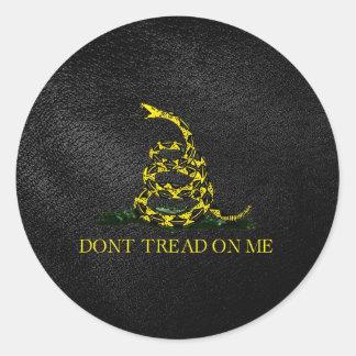 Gadsden Snake On Faux Leather Round Sticker