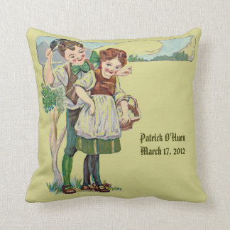 gaelic christening blessing and vintage art throw pillow