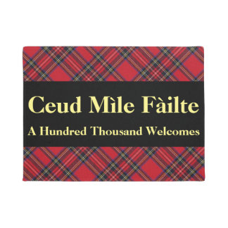 Gaelic Hundred Thousand Welcomes Stewart Tartan Doormat