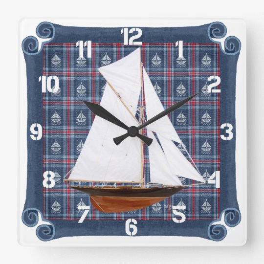 Gaff-rigged Cutter Square Wall Clock
