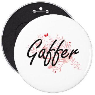 Gaffer Artistic Job Design with Butterflies 6 Inch Round Button
