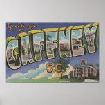 Gaffney, South Carolina - Large Letter Scenes Poster