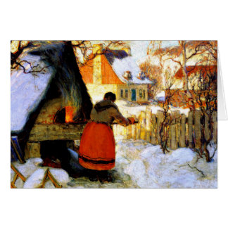 Gagnon - Heating the Oven, Winter Scene Card