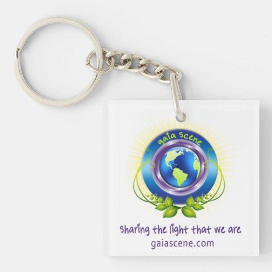 Gaia Scene Square Key Chain Drop Logo