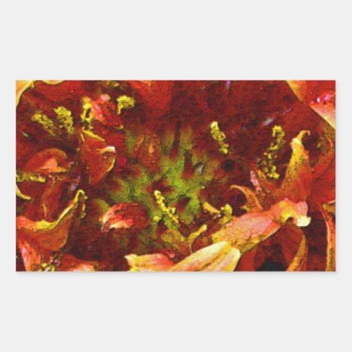 Gaillardia orange et jaune de fleur autocollant rectangulaire