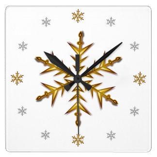 """""""Gala Snow"""": Gold & Silver #'s, White Square Clock"""