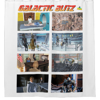 Galactic Blitz Tiles Shower Curtain