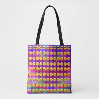 Galactic Emojis Patterned Tote Bag