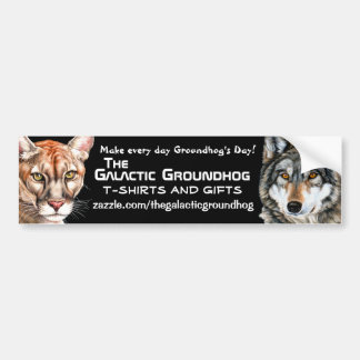 Galactic Groundhog Panther & Wolf Bumper Sticker