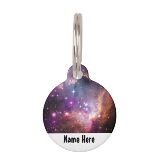 Galactic Outer Space Purple Nebulae Pet Name Tags