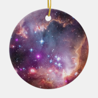 Galactic Outer Space Purple Round Ceramic Ornament
