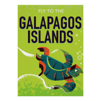 Galapagos Islands vintage travel poster art.
