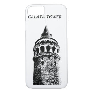 Galata Tower figure Black and White iPhone Case