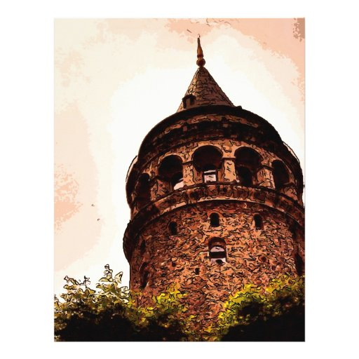 Galata Tower In Istanbul Hand drawing Letterhead Template