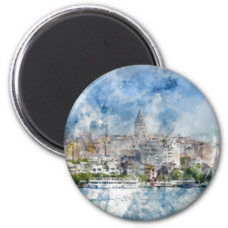 Galata Tower in Istanbul Turkey 2 Inch Round Magnet