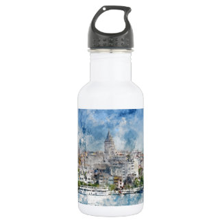 Galata Tower in Istanbul Turkey 532 Ml Water Bottle