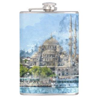 Galata Tower in Istanbul Turkey Hip Flask