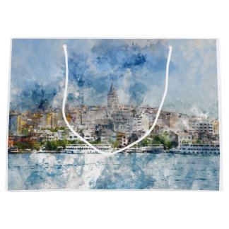 Galata Tower in Istanbul Turkey Large Gift Bag