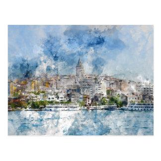 Galata Tower in Istanbul Turkey Postcard