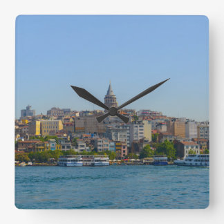 Galata Tower in Istanbul Turkey Square Wall Clock