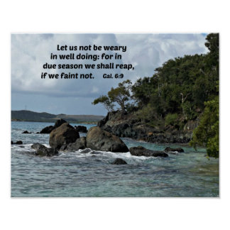 Galations 6:9 Let us not be weary in well doing Poster