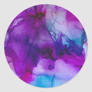 Galaxy Abstract Ink Painting Classic Round Sticker