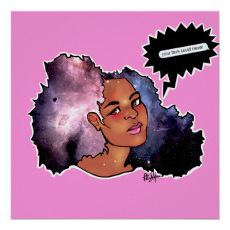 Galaxy Afro Poster