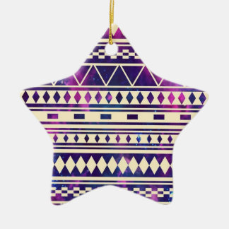 Galaxy andes aztec Double-Sided star ceramic christmas ornament