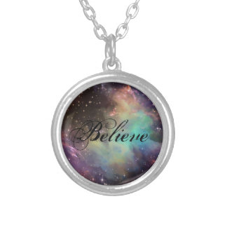 "Galaxy ""Believe"" quote Silver Plated Necklace"