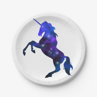 Galaxy  blue beautiful unicorn sparkly image 7 inch paper plate