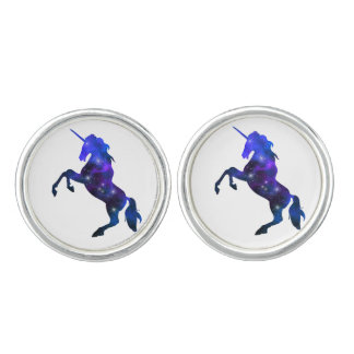 Galaxy  blue beautiful unicorn sparkly image cufflinks