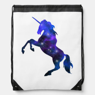 Galaxy  blue beautiful unicorn sparkly image drawstring bag